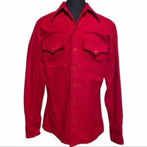 Vntg Lee Western Pearl Snap Front Shirt Men's 34